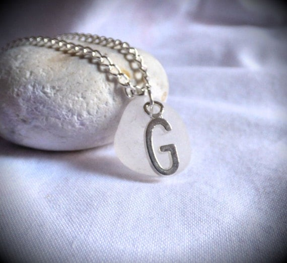 Initial G, Sea Glass Pendant, Identity Pendant, Seaglass Identity, Seaglass Jewelry, Seaglass Jewellery, Sea Glass Jewelry - PC17012
