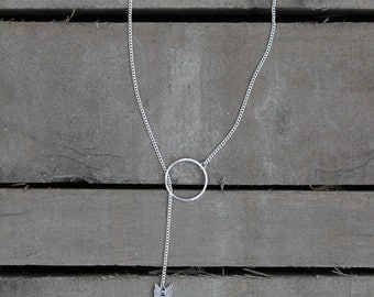 Silver or Bronze Arrow Charm Lariat Necklace