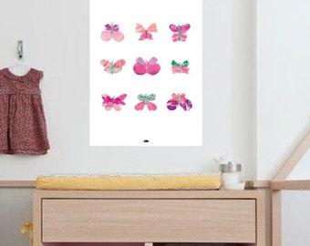 Poster art print A3 kidsroom - Butterflies