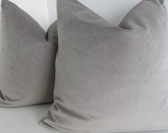 Grey Velvet Pillow - Pillow Covers - Cotton Velvet Pillow Covers - Grey Cotton Velvet- Solid Cotton Velvet - Grey- Grey Pillow Cover