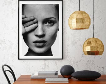 Kate Moss B&W Portrait Scandi Style Art Print
