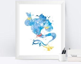 Genie Art Print, Aladdin Poster, Genie Poster, Aladdin Genie Decor, Lamp, Disney Art, Gift, Artwork, Watercolor, Nursery Kids Room