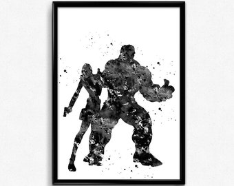 Black Widow and Hulk inspired, Superheroes, Black and White Watercolor Print, Poster, Room Decor, gift, Print, Wall Art (422)