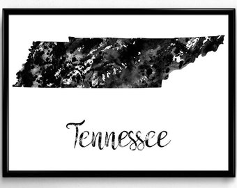 Map of Tennessee, United States of America, Black and White Map, Travel, Watercolor, Room Decor, Poster, gift, Printable Wall Art (775)