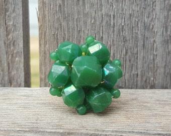 Up-cycled, Repurposed OOAK Vintage Emarald Green Cluster Earring,  Statement Ring