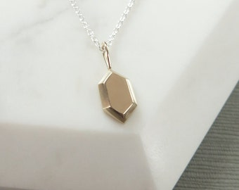 10K Yellow Gold Rupee Pendant, Legend of Zelda inspired Necklace, Nintendo Charm Pendant, Sterling Silver and Gold Zelda Pendant