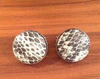 Vintage Snake Skin Print Earrings, Punk, Mod, Hip, Clip On, Mid Century