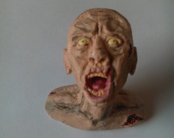 Miniature Zombie Bust,polymerclay, Fimo, bloody