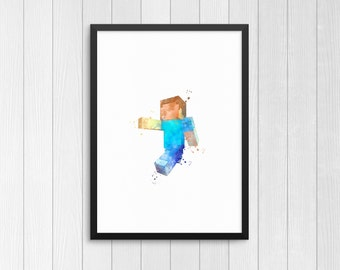 Steve from Minecraft, Minecraft character, Minecraft monsters, Watercolor Print