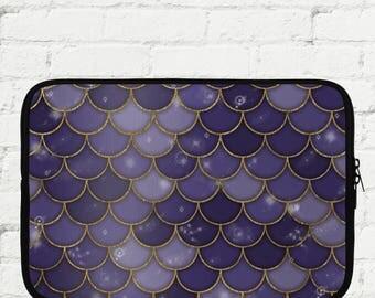 """Purple and Gold Mermaid Scale Laptop Sleeve 15"""" - iPad Sleeve 10"""" - Kindle iPad Mini Sleeve 8"""" - Neoprene Sleeve with Zipper"""