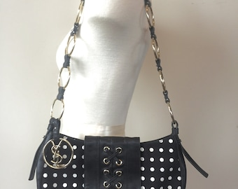 Vintage YSL bag, ysl purse, yves saint laurent bag, yves saint laurent purse, vintage yves saint laurent, polka dot, chain link strap handle