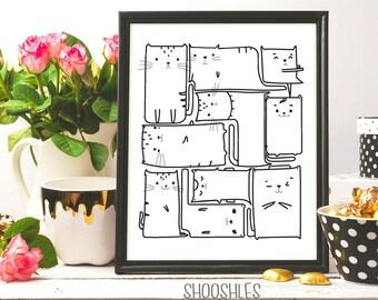 Cats Illustrationt, Cats Printable art, Cats print, ink art, doodle art, printable art, for cat person, Cat pattern, Cats drawing, Cat print