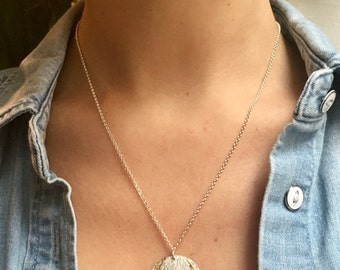 Long silver sterling necklace,  3 medallions, silver medallion, gold medallion, birthday present
