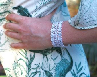 White crochet jewelry bracelet