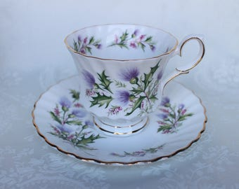 Queen Anne Lochinvar Tea Cup and Saucer, Thistle Design Teacup and Saucer, Queen Anne Bone China Thistle Tea Cup, England