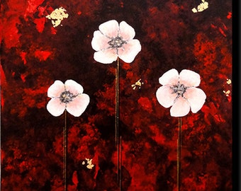 flowers Japanese on red background