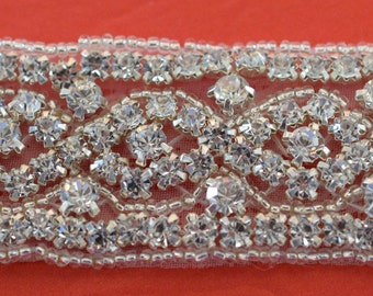 "Crystal Rhinestone Trim by the Yard-Wholesale Silver Bridal Trim-Silver rhinestone banding-1"" Crystal Trim -Rhinestone Applique"