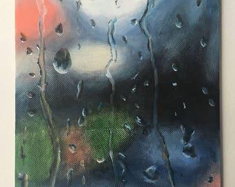 "Rain on a Window Oil Painting 6x8"""