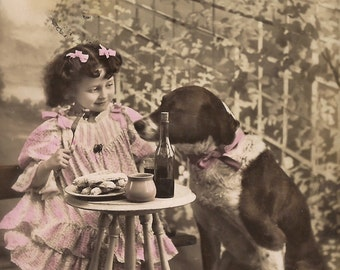 Fancy Lunch with Dog... Original 1900s Antique French Belle Epoque Hand Tinted Photo Postcard… Lovely Little Girl Comical Restaurant Scene