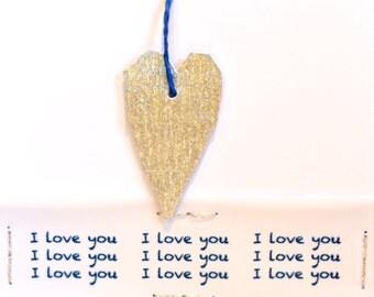 Handmade Silver Heart Love Card