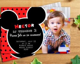 Mickey Mouse Invitation with photo, Mickey Mouse Birthday Party Invitations, Mickey Invitation with photo, Mickey Party, Printable, Printed