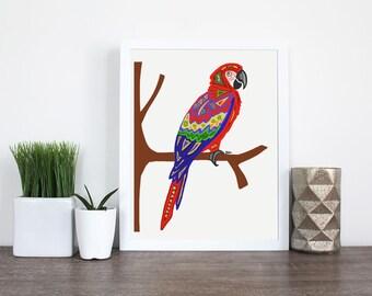 Parrot Art - Abstract Parrot Bird Design - Parrot Wall Decor - Custom Pet Art - Exotic Bird Print - Parrot Printable