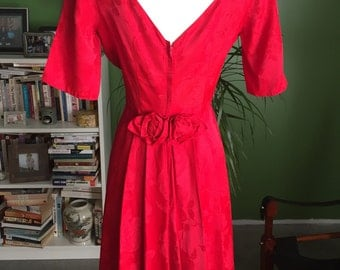 1950's Red Sateen Brocade Cocktail Dress Low Cut Back Rosettes VLV