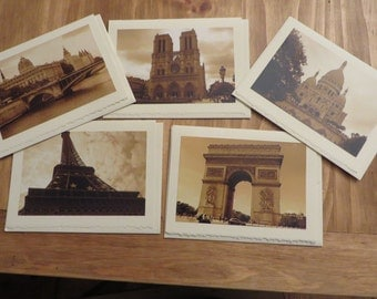 Photo Greeting Cards, Blank Cards, All Occasion Cards, Paris Photography, Sepia Photography, Blank Note Cards, Set of 5 Cards, Gift
