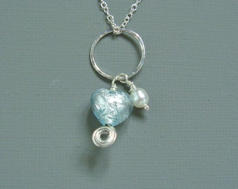 Sterling Silver Mint Green Genuine Venetian Murano Heart And White Cream Freshwater Pearl Pendant Necklace Celtic Spiral Bridesmaid Gift