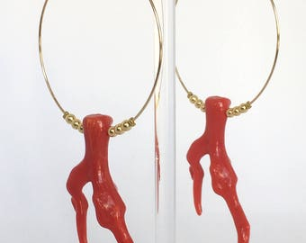 Earrings, Gold filled 14k hoop earrings and coral imitation, Gold earrings, Coral earrings, Red earrings, Red coral jewelry, Gift for her