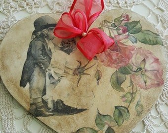 Lovely Wooden Heart Handmade Hand decorated with decoupage technique, Kissing pair , Valentines Day, Anniversary Gift, Wall Hanging, New