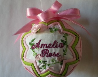 Personalized quilted ornament with name and birthdate