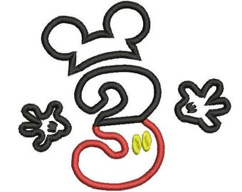 6sizes - Mickey Mouse Number 3 Applique Design, Mickey Mouse 3rd Birthday Applique, Mickey Mouse Applique, Instant Download, Number Applique