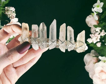 SALE Peach Quartz Crystal Barrette- Krista Crown