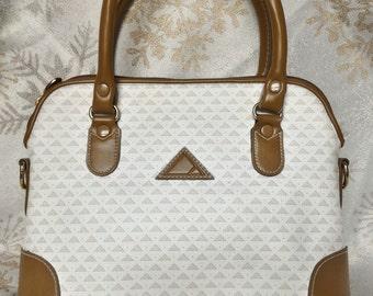 SALE! Vintage 1980's LIZ by Liz Claiborne Ivory and Tan Geometric Patterned Handbag W/ Removable Strap