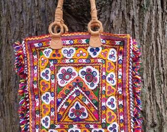 Tribal Kutchi Shopper, Vintage Up Cycled Gypsy Shopper.