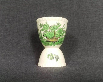 Vintage Double Egg Cup, Green Flowers