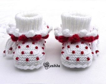Crochet Baby Booties, Baby Booties Crochet, Baby Knit Shoes, Knitted Baby Shoes, Baby Girl Booties, Booties Baby Girl, White Red Baby Boots.