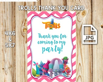 Trolls Thank You Card, Trolls Birthday Party, Trolls Party Favors, Trolls Birthday Favors, INSTANT DOWNLOAD 5x7 & 4x6, Trolls Birthday