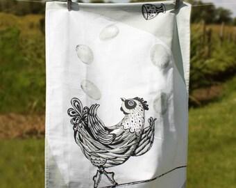 Chicken Tea Towel, chicken lover, hens, chicken tea towel, CIRCUS FARM Jessy the Juggling Chicken