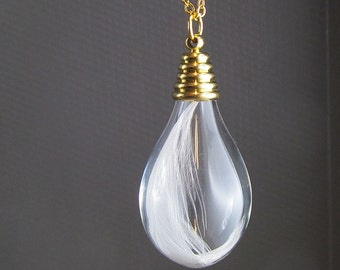 Long necklace spring drop glass