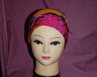 Ponytail Headband: Pink Snakeskin Fashion SCUBA Dive Hair Lycra Spandex Diving Yoga Running