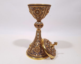 "Gold plated sterling silver ciborium, chalice. Filigree, Enamels semi-precious stones garnet and aquamarine. "" Holy Grail"""