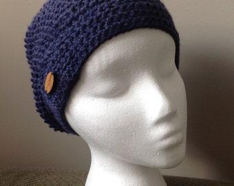 Denim blue crocheted beanie