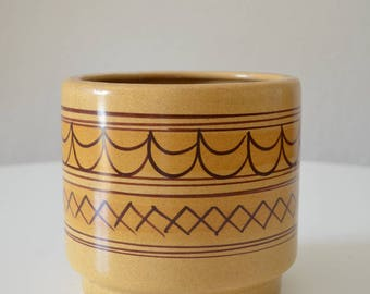 Vintage bohemian 1970s ceramic flower pot DDR GDR planter handpainted