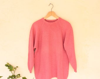 Vintage Pink Norwegian Knit Jumper - Size Small