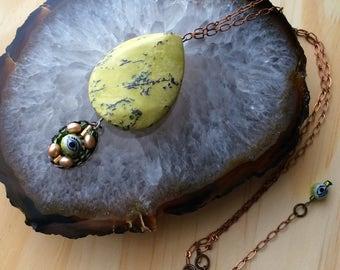 Eye Spy OOAK Yellow Jasper Pendant Necklace