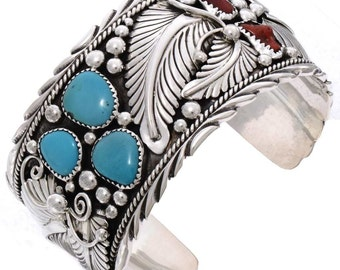 Turquoise Coral Wide Silver Cuff Navajo Handmade Bracelet