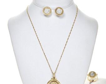Vintage Bulgari 18K Gold Diamond Reversible Pendant Set Flip Style Earrings Ring