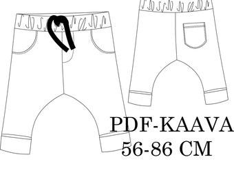 Baby housut pdf-kaava 56-86 cm
